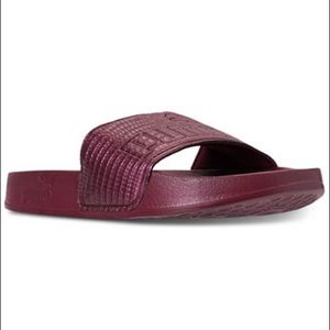 Puma Womens Lead-cat Leather Slide Sandals